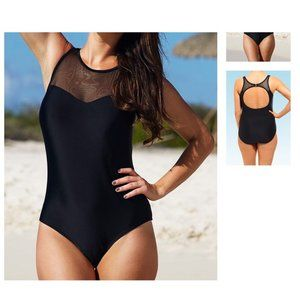 Swimsuits For All Keyhole Back Mesh One Piece !